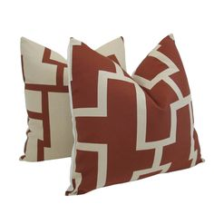 Pair of Decorative Designer Pillow Covers-Maze In Rust -18 inch. $65.00, via Etsy.