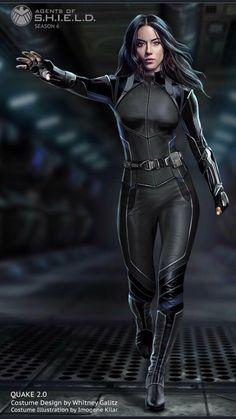 """Quakes brand new uniform revealed for Marvel's (via Whitney Galitz)"" Superhero Suits, Superhero Design, Marvel Women, Marvel Heroes, Marvel Live, Marvel Comic Character, Marvel Characters, Marvel Comic Universe, Marvel Cinematic Universe"