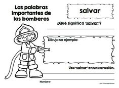 Great lessons, activities worksheets, vocabulary and coloring sheets to teach about firefighters and fire prevention to students in Spanish. Ideal for Preschool, Kindergarten and first grade students learning about community helpers, professions, safety, fire prevention in a social studies unit. Unidad y actividades de los bomberos y prevencion contra el incendio.