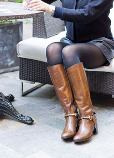 Thigh High Boots, High Heel Boots, Knee Boots, Heeled Boots, Riding Boot Outfits, Brown Boots Outfit, Cute Tights, Botas Sexy, Leather Riding Boots