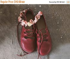 SALE 20% OFF: Marsala Leather Women Shoes. Strap Shoes. Marsala Red Shoes.