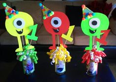 DIY Monster Party Center Piece. Dollar Store Items!