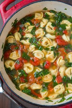 Spinach Soup Fresh Spinach Tomato and Garlic Tortellini Soup - Cooking Classy Vegetarian Recipes, Cooking Recipes, Healthy Recipes, Cooking Time, Cooking Classes, Vegan Soups, Fast Recipes, Garlic Tortellini, Cheese Tortellini