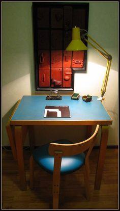 Rare Alvar Aalto`s linoleum laminated plywood table with Artek Aalto 69 chair.