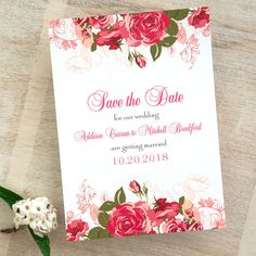 Rose Garden Save the Date Cards / Garden Wedding Announcement / Mint Pink Wedding, Wedding Colors, Pink Save The Dates, Save The Date Cards, Wedding Cards, Our Wedding, Wedding Invitations, Wedding Ideas, Announcement Cards
