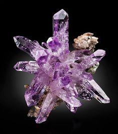 Swarovski Crystal Earrings, Amethyst Crystal, Amethyst Quartz, Gold Earrings, Minerals And Gemstones, Rocks And Minerals, Beautiful Rocks, Rocks And Gems, Geology