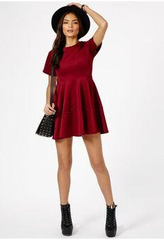 Hosha Structured Skater Dress In Burgundy - Dresses - Skater Dresses - Missguided