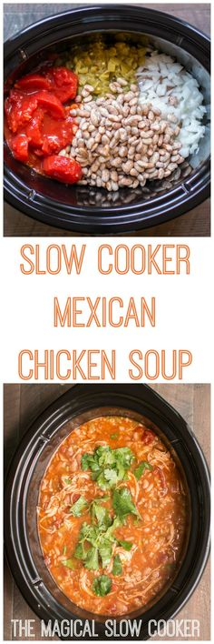 Slow Cooker Mexican Chicken Soup #crockpot #slowcooker #easyrecipe