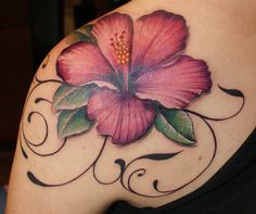 Tattoo - Hibiscus. This is what my tattoo was really supposed to look.. That's why I went with artist. Her delivery was an amateur version of this. Hoping one day to add some depth..