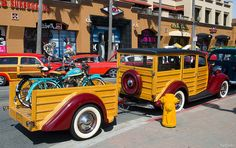 1936 Ford Woodie with trailer - Check out the old bikes in the trailer, and notice it is parked in front of a fire hydrant!!!  That's a No No!  ;)