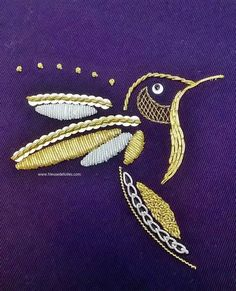 hummingbird in gold embroidery Zardosi Embroidery, Embroidery Works, Couture Embroidery, Embroidery Needles, Gold Embroidery, Embroidery Patterns, Embroidered Bird, Insect Art, Sewing Stitches