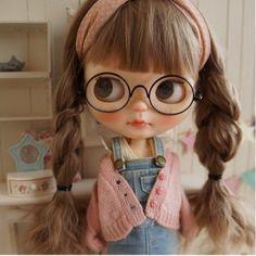*** Custom Blythe *** braid glasses ***  Buy her here:   #blythe #blythedolls #kawaii #cute #rinkya #japan #collectibles #neoblythe #customblythe