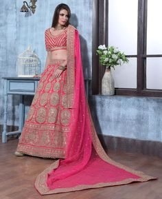 Buy Nice Pink Lehenga Choli online at  https://www.a1designerwear.com/nice-pink-lehenga-choli-5  Price: $162.75 USD