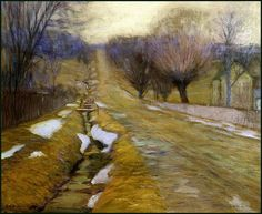 """Bucks County Winter,"" Edward W. Redfield, oil on canvas, x The Art Museum at the University of Kentucky, Impressionist Landscape, Watercolor Landscape, Landscape Art, Landscape Paintings, Acrylic Paintings, American Impressionism, Post Impressionism, Art Espoir, Hope Art"