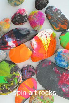 Spin Art Rocks for Kids - Meri Cherry