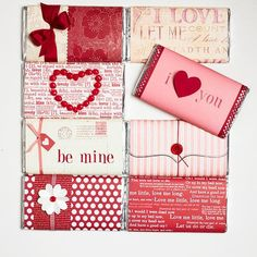 make your own valentine chocolate bar covers with craft paper