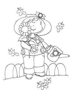 Free Dearie Dolls Digi Stamps: Grandma's Autumn Sunflowers