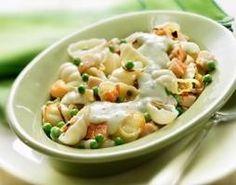 Gnocchi met gerookte kip, doperwtjes en lente ui-knoflooksaus recept - Pasta - Eten Gerechten - Recepten Vandaag