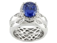 "Remy Rotenier For Bella Luce (R) Remy Cut Rhodium Over Silver Tanzanite Simulant ""facet"" Ring W/Band"