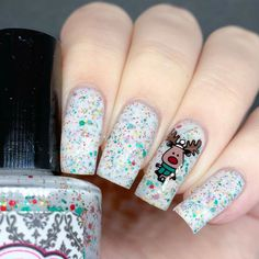 Repost from for Reindeer challenge Holiday Nail Art, Christmas Nail Art, Red Christmas, Cute Nails, My Nails, Matte Nails Glitter, Long Square Nails, Nail Techniques, Long Gel Nails