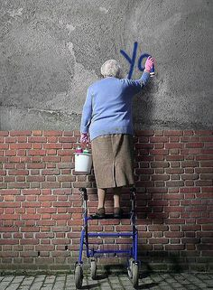 graffiti granny. Standing on her roll at or. Hope those brakes are good