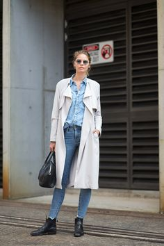 Double denim & a trench.