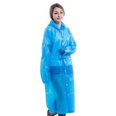 Fashion Women EVA Transparent Raincoat Poncho Portable Environmental Light Raincoat Long Use Rain Coat Hogard