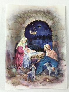 """MARY, JOSEPH, JESUS in Manger Christmas Cards Box of 12 Luke 2:14 Bible Verse - $9.99. Box of 12 PaperCraft Christmas Cards, Gold Embossed The cards are """"new"""" as in unused/undamaged, the box is dated 2016 and has been opened/slightly damaged. Luke 2:14 King James Version Bible Verse Please Check Out My Other Items!Books, Coins, Baseball Cards, Collectibles, Jewelry, Clothing, Handbags and Accessories Kitchenware, Pottery, Craft Supplies' And More! Store Information:Coins and Baseball Cards… Merry Christmas Gif, Boxed Christmas Cards, Christmas Scenes, Christmas Nativity, Nativity Painting, Baby Gift Wrapping, Decoupage, Jesus Mary And Joseph, Jesus Christ Images"""