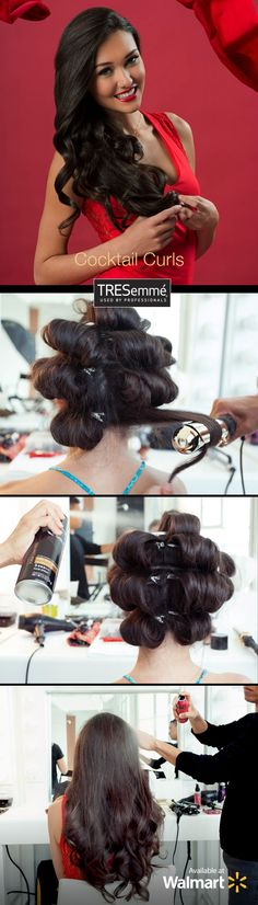 Pump up the volume with TRESemmé 24 Hour Body Foaming Mousse and get these fabulous cocktail curls for your next holiday party! Once curls are set, gently run your fingers through the curls to separate them. Finish with TRESemmé Keratin Smooth Illuminating Shine Spray.