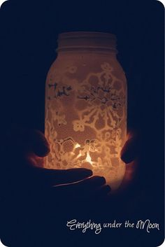 snowflake stenciled mason jar - dyi centerpiece idea?