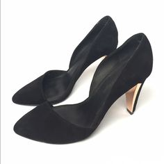 Rebecca Minkoff Selina d'Orsay black suede pumps Beautiful black suede d'Orsay punks. Worn only a few times! Like new! 3.75 inch heel with a gleaming metal plate that accents the heel. Rebecca Minkoff Shoes Heels