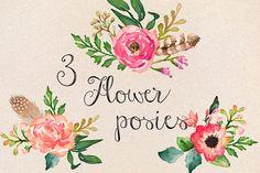 Watercolor Flower DIY Pack Vol.1 - Illustrations