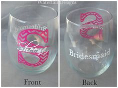 Chevron monogram bridesmaid glass, Stemless Wine glass with monogram and name and title.  Bridesmaid gift idea, Maid of Honor. 1 glass on Etsy, $12.00