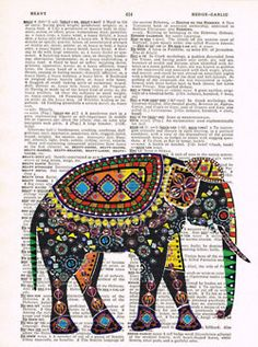 Love this Indian elephant on a sheet of paper~