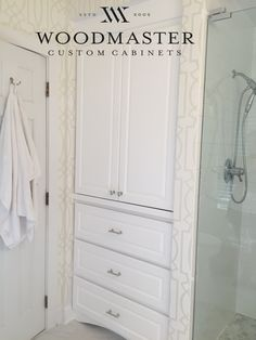 Custom bathroom cabinets and storage by Woodmaster Woodworks in Wake Forest, NC.