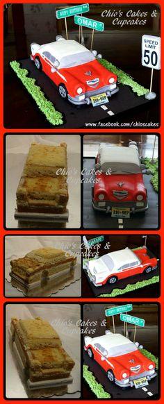 CHEVY 56 3D CAR CAKE I made this cake shaped like 56 Chevy Bel Air for a 50th Birthday Party. The cake flavor is vanilla. Three layers filled with pineapple and caramel. Approx.20-25 servings. Follow me on www.facebook.com/chioscakes Este cake, en forma de un Chevy 56 Bel Air, lo hice para celebrar un cumpleaños No. 50 El sabor del cake es de vainilla; tres capas; dos rellenos: piña y manjar de leche (dulce de leche, cajeta).  Porciones aprox. 20-25