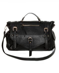 Lulu's - Vegan Handbags and Purses - ♥♥♥ Buckle Up Black Handbag.