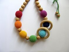Rainbow nursing necklace with wooden ring - Teething necklace - Breastfeeding Necklace - Crochet Necklace - Gift for Babywearing Moms on Etsy, 18,98 €