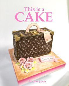 高級なトランクケース型ケーキ #高級鞄 #トランク #ケース #ケーキ #ファッション #鞄ケーキ #fashion #fashioncake #bagcake #fondantcake #handmade #handpainted #handpaint