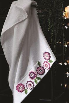 Keçe Nakışlı Bambu Havlu Crochet Borders, Crochet Motif, Diy Crochet, Soft Towels, Diy Crafts New, Lace Bag, Crochet Towel, Drop Cloth Curtains, Crochet Edgings