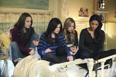 chilling on the bed just like friends would but 1 things different #PLL
