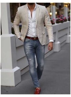 Trajes Business Casual, Business Casual Men, Men Casual, Blazer Outfits Casual, Stylish Mens Outfits, Vest Outfits, Outfit Jeans, Casual Jeans, White Shirt And Jeans