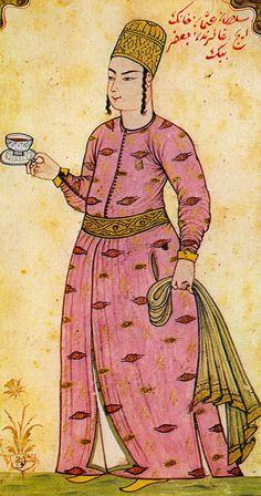 Levni, saray hizmetçisi minyatürü (palace butler), Topkapi Palace Museum, Istanbul.