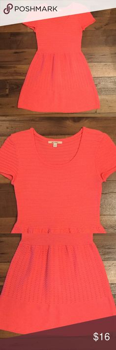 Francesca's neon coral dress, size L Francesca's neon coral knit dress, super cute in the summer! Only worn twice. Make me an offer! Francesca's Collections Dresses