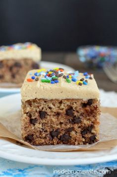 This delicious banana cake is full of chocolate chips