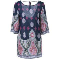 Ethnic Tribal Print Open Back Dress