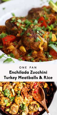 Flavorful one pan enchilada zucchini turkey meatballs simmered with rice in a delicious red enchilada sauce. This healthy one pan dinner recipe is packed with veggies like zucchini, bell pepper, corn, and poblano pepper, and is perfect for weeknights or meal prep! #mealprep #meatballs #turkey #onepan #onepanmeal #dinnerideas #familydinner #glutenfreerecipe #enchilada