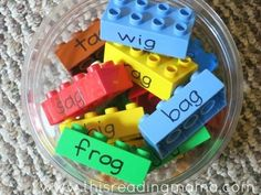 The aim is for the child to sort through the blocks and create towers of the same word families. This game will unfortunately pose the same threats to bare feet as normal LEGO pieces do. You've been warned.