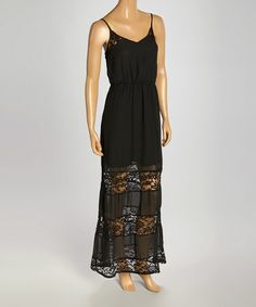 Black Lace Sleeveless Maxi by Leather and Sequins #zulily #zulilyfinds