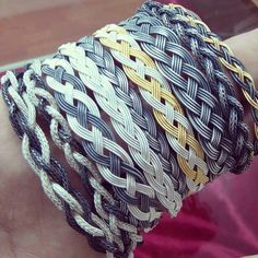 Various braided bracelets.